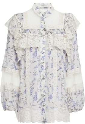 Zimmermann Lace And Point D'esprit-trimmed Floral-print Crepe De Chine Blouse