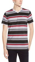 Southpole Men's Stripe V-Neck T-Shirt with Thick Auto Stripes Contrasting Color Tone