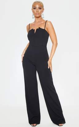 Panache Black Strappy Pleated Plunge Jumpsuit