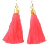 Coral Silk Tassel Earrings