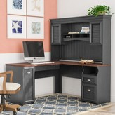 Beachcrest Home Oakridge L-Shape Executive Desk with Hutch Color: Antique Black
