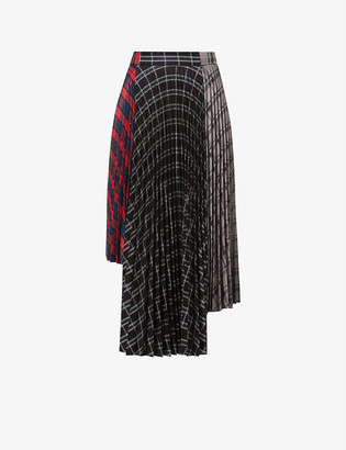 Rokh Tartan high-waist wool-blend midi skirt