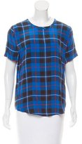 Equipment Plaid Printed Silk Top