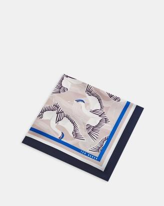 Ted Baker Crane Print Silk Pocket Square