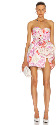 Magda Butrym Strapless Floral Print Dress in Cream   FWRD