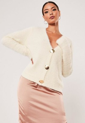Missguided Sand Boxy Button Fluffy Cardigan