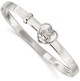 Sterling Silver Children's Cubic Zirconia Adjustable Bear/Heart 4mm Bangle by Versil
