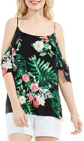 Vince Camuto Tropical Print Cold-Shoulder Top
