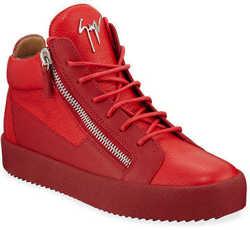 Giuseppe Zanotti Men's Textured Leather Mid-Top Sneakers