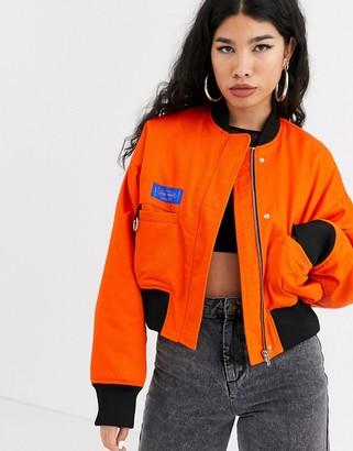 Local Heroes oversized bomber with back logo-Orange