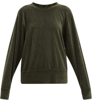 LES TIEN Brushed-back Cotton-blend Velour Sweatshirt - Khaki