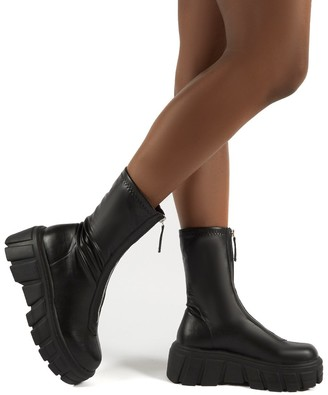 Public Desire Uk Domino PU Zip Up Chunky Sole Ankle Boots