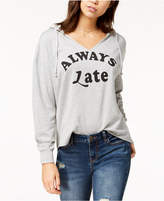 Pretty Rebellious Juniors' Always Late Graphic Hooded Top