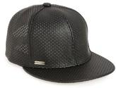 Steve Madden Women's Perforated Faux Leather Baseball Cap - Black