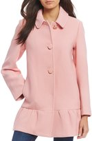 Kate Spade Single Breasted Wool Peplum Button Front Coat