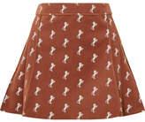 Chloé Pleated Embroidered Cotton-blend Velvet Mini Skirt