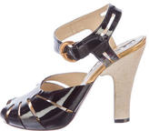 Rochas Patent Leather Cage Sandals