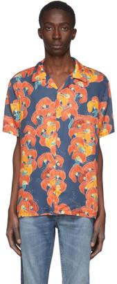 Nudie Jeans Blue Flowers Arvid Short Sleeve Shirt
