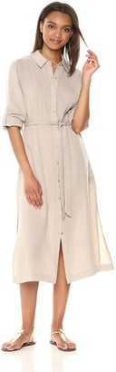 T Tahari Women's Millie Floral Embroidered Button Down Shirt Dress
