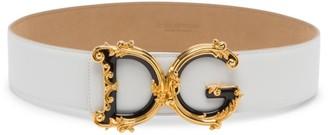 Dolce & Gabbana Barocco Logo Leather Belt