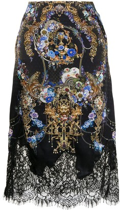 Camilla Lace-Trimmed Floral-Baroque Print Silk Skirt