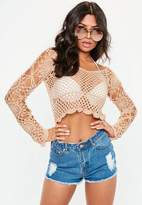 Missguided Nude Flared Sleeve Crochet Sweater