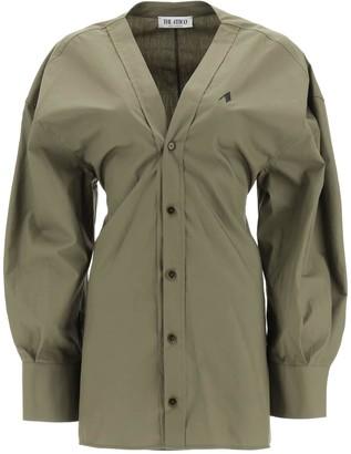 ATTICO MINI SHIRT DRESS WITH LOGO EMBROIDERY 38 Khaki Cotton