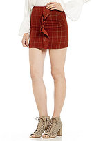 Gianni Bini April Plaid Ruffle Mini Skirt