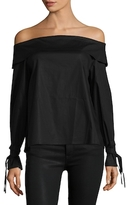 Lucca Couture Cotton Tied Cuff Off Shoulder Top