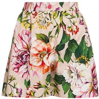 Dolce & Gabbana Poplin Floral-Print Pleated Shorts