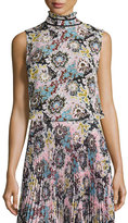 A.L.C. Phoebe Sleeveless Floral Silk Top, Pink/Blue/Mustard
