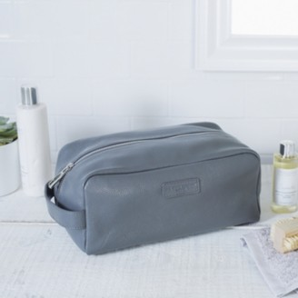 The White Company Mens Leather Wash Bag, Grey, One Size