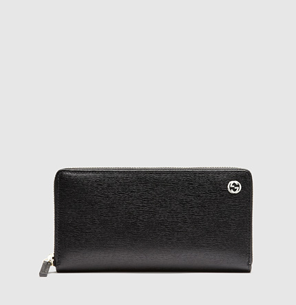 Gucci Betty Black Leather Zip Around Wallet