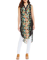 Cupio Sleeveless Hi-Low Hem Printed Maxi Tunic