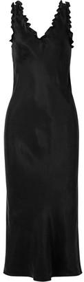 Tibi Ruffle-trimmed Washed-satin Midi Dress - Black