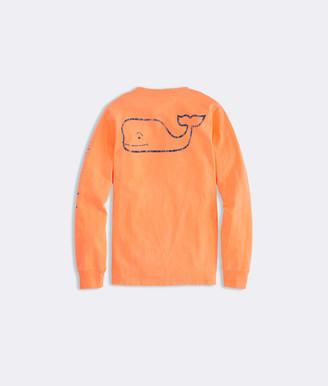 Vineyard Vines Boys' Garment-Dyed Vintage Whale Long-Sleeve Pocket Tee