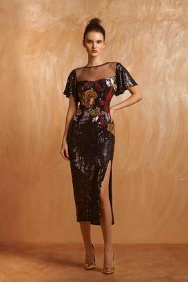 Gemy Maalouf Short Sleeve Embellished Midi-Tea Dress