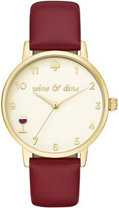 Kate Spade Women's Metro Red Leather Strap Watch, 34mm