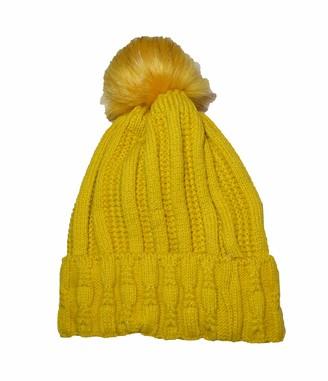 Wigwam Luxury fleece lined cable knitted faux fur pom pom hat Ochre Mustard - Womans winter hats