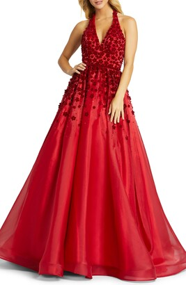 Mac Duggal Floral Applique Beaded Halter Neck Backless Gown