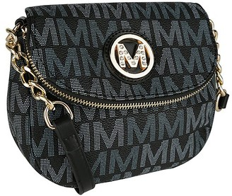 MKF Collection by Mia K. Women's Handbags Black - Black Signature Chain-Accent Crossbody Bag