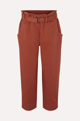 Brunello Cucinelli Oversized Cropped Belted Cotton-blend Pants - Orange