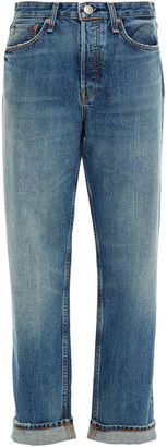 Rag & Bone Maya Cropped Faded High-rise Straight-leg Jeans