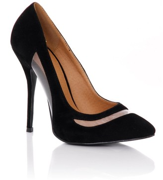 Paper Dolls Footwear Black Pointed Mesh Cut Out Court Shoes