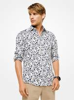 Michael Kors Slim-Fit Botanical Stretch-Cotton Shirt