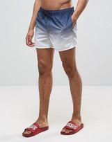 Asos Swim Shorts In Dip Dye Navy Short Length
