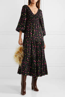 Rixo Lottie Shirred Floral-print Cotton And Silk-blend Midi Dress - Black