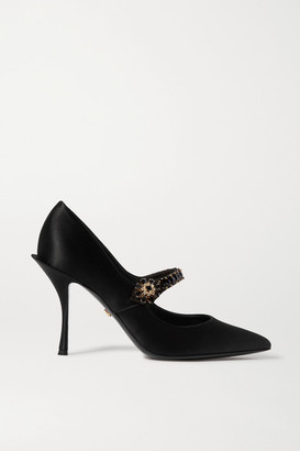 Dolce & Gabbana Crystal-embellished Satin Mary Jane Pumps - Black