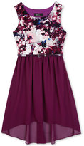 Amy Byer Girls' Floral-Print High-Low Dress