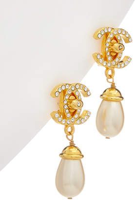 Chanel Gold-Tone & Faux Pearl Turnlock Drop Earrings